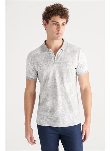 Avva A11Y1197 Polo Yaka Jakarlı Slim Fit T-Shirt A11Y1197 Gri
